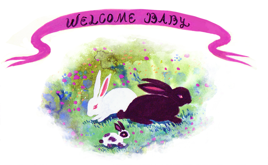 Welcome Baby Bunny, illustration.